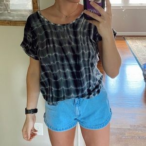 Athleta gray tie-dye yoga top